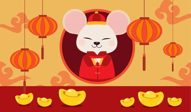 中国の金と中国の雲とかわいいマウスのキャラクター。