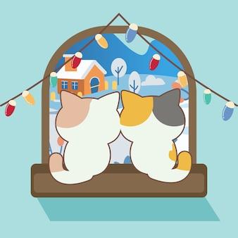 Характер милый кот сидит возле окна с цветной лампочкой. персонаж милый кот выглядит счастливым со снегом. характер милый кот в плоском стиле вектор.