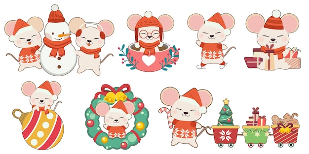 Коллекция милая мышь в рождественские темы набор. характер милая мышь с друзьями и рождественские элементы в стиле плоский вектор.