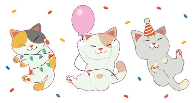 パーティーで踊る友達とかわいい猫のキャラクター。