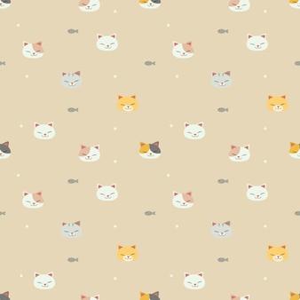 黄色の背景に魚と猫のシームレスなパターン。かわいい猫の笑顔のパターン。かわいい魚のパターン