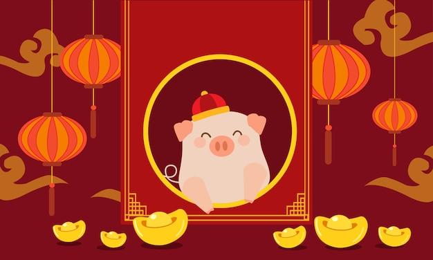 中国の新年の豚イラストセット