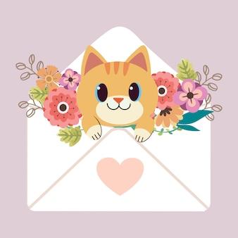 ピンクのハートのステッカーと花の手紙に座っているかわいいハリネズミのキャラクター