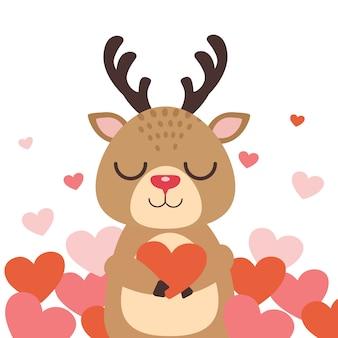 Персонаж милый олень улыбается анг держит сердце на белом