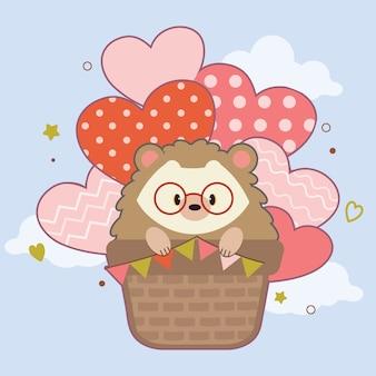空の熱気球に座っているかわいいハリネズミのキャラクター。