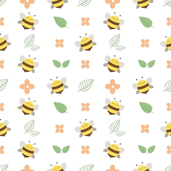 Узор из милой пчелы и цветка и оставил на белом