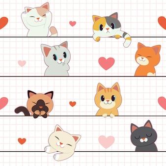白い背景の上の心とかわいい猫の愛のかわいいカップルのシームレス。心のかわいい猫の愛のカップルのキャラクター。フラットスタイルのかわいい猫のキャラクター。