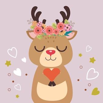 かわいい鹿のキャラクターは花を身に着け、紫色の背景に心を保持しています。花の花束とかわいい鹿。フラットスタイルのかわいい鹿のキャラクター。