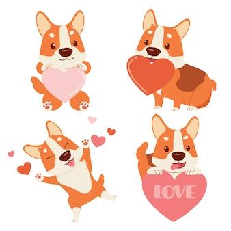 白い背景の上の心でかわいいコーギー犬のコレクション。バレンタインデーをテーマにしたかわいいコーギー犬のキャラクター。フラットスタイルのかわいいコーギー犬のキャラクター。