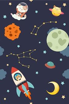 かわいい猫のキャラクターは、惑星と月と星のグループと宇宙に浮かんでいます。ロケット打ち上げのかわいい猫。猫の惑星。フラットスタイルのかわいい猫のキャラクター
