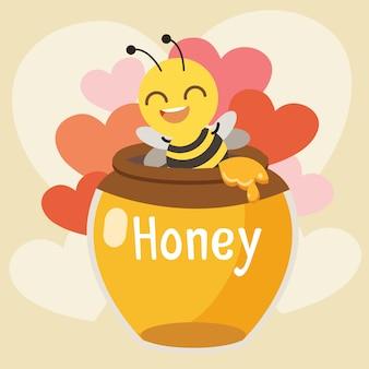 心のこもった蜂蜜の瓶に座っているかわいい蜂のキャラクター