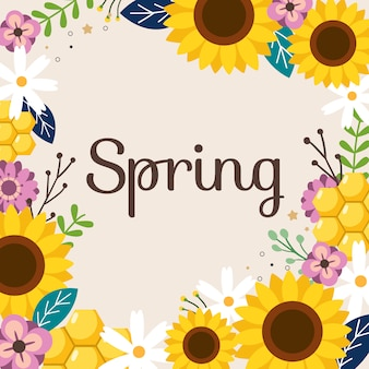 春のフリームとテキストに白い花と紫の花のかわいいひまわり