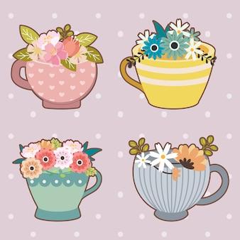 Коллекция милого цветка в чашке