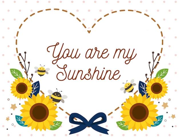 かわいいミツバチとひまわりと破線のキャラクターは、白い背景にハートとリボンのように見えます。あなたのテキストは私の太陽です。フラットスタイルのかわいい蜂のキャラクター。
