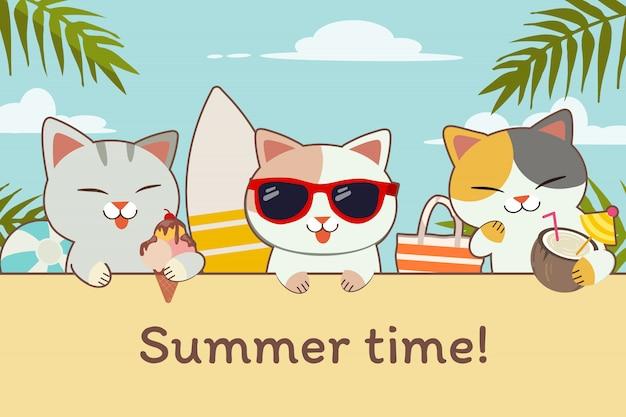 Характер милый кот с друзьями в пляжную вечеринку на летнее время. милый кот держит мороженое и кокос и носить солнцезащитные очки. характер милый кот в плоском стиле.