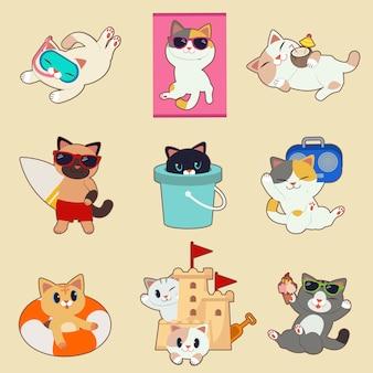 Коллекция милый кот в летней теме. персонажи милой кошки носят водонепроницаемые очки и солнцезащитные очки, а также солнечные ванны с кокосом и доской для серфинга, а также танк и радио и раббер-бэнд.