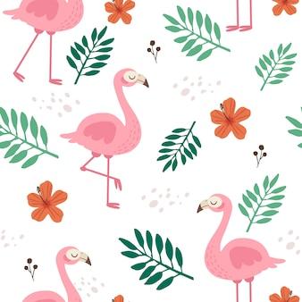 Узор из милого фламинго и цветов и листьев