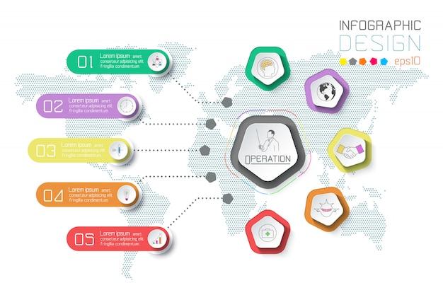 Бизнес этикетки инфографики на фоне карты мира.
