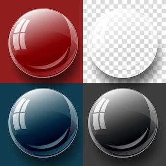 透明ボタンとバブルの形。