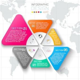 世界地図背景にビジネスラベルインフォグラフィック。