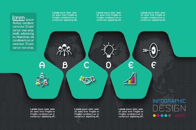 ビジネスステップオプションと抽象的なインフォグラフィック