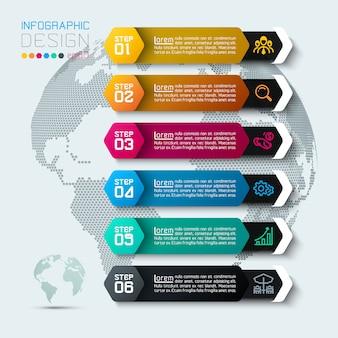 Шесть этикеток с бизнес значок инфографики.
