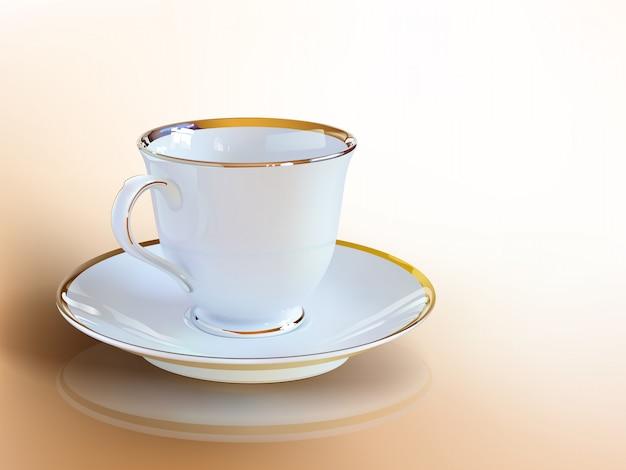 ベクトルアートの現実的なコーヒーカップ。