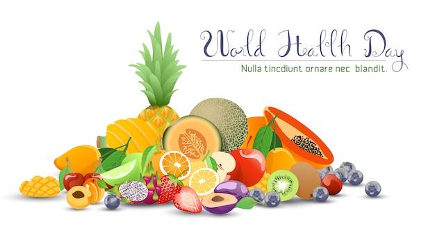 世界保健デーのためのフルーツコレクション。