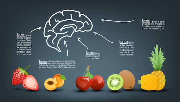 フルーツインフォグラフィックテンプレートの栄養価ビタミン