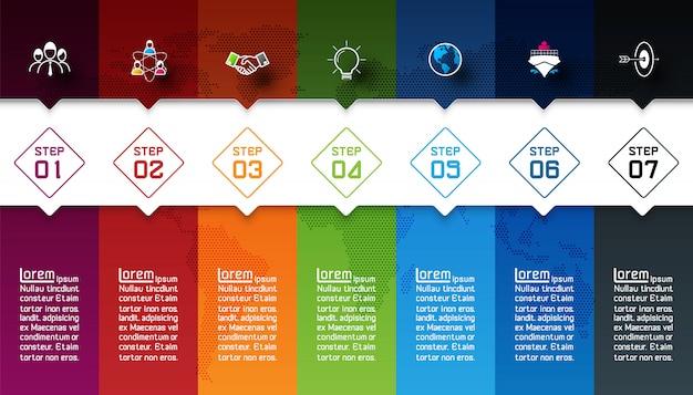 Семь красочных баров с бизнес значок инфографики.