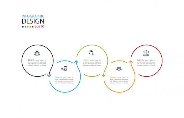Круг этикетка инфографики с шестью шагами