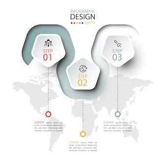 Пентагон метка с цветной линией связаны инфографики.