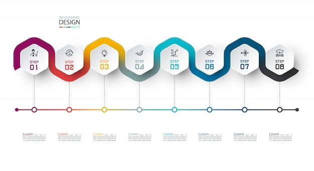 Этикетка с шестигранной с цветной линией связаны инфографики.