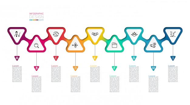 三角形は、ステップバイステップでインフォグラフィックにラベルを付けます。