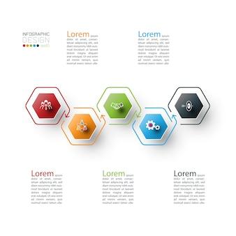 ベクトルグラフィックアートの六角形のインフォグラフィック。