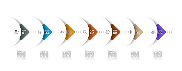 水平インフォグラフィックデザインのベクターグラフィックアートに半円の矢印。