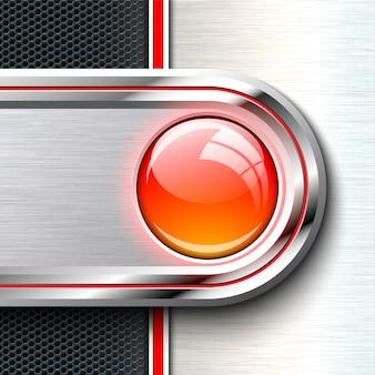 モノクロの固体材料シート上の赤いガラスボタン。