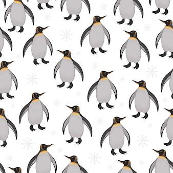 かわいい漫画のペンギンと雪片のシームレスなパターン。