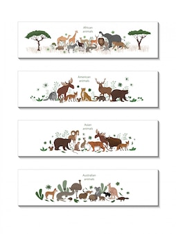 アフリカ、アメリカ、アジア、オーストラリアの動物とバナーのセット。オカピ、インパラ、ライオン、カメレオン、シマウマ、キツネザルジャガーアルマジロ鹿アライグマキツネエキドナリスうさぎコアラワニエルク