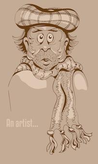 キャップとスカーフで悲しい男の描き下ろしイラストを手します。
