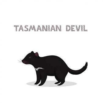 白い背景に分離された漫画タスマニアデビル