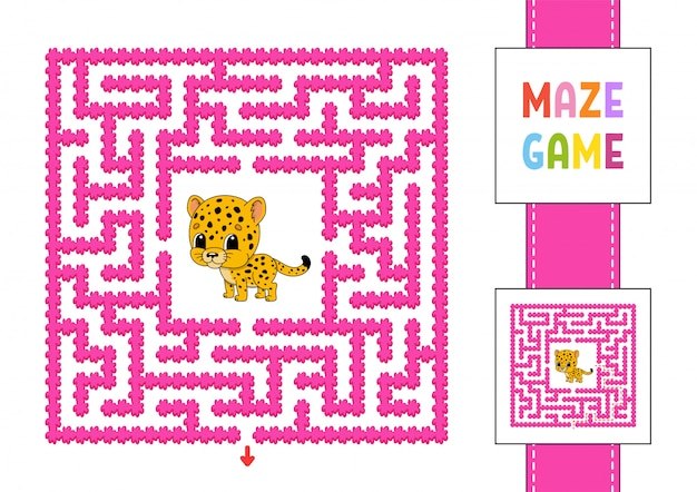 Забавный квадратный лабиринт. игра для детей. пазл для детей.