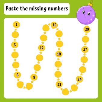 Вставьте пропущенные номера. почерк практика. учим цифры для детей. рабочий лист развития образования.