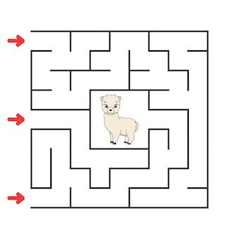 Забавный квадратный лабиринт. игра для детей. пазл для детей. мультипликационный персонаж. загадка лабиринта.