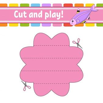 カットアンドプレイ。子供のための論理パズル。教育開発ワークシート。学習ゲーム。