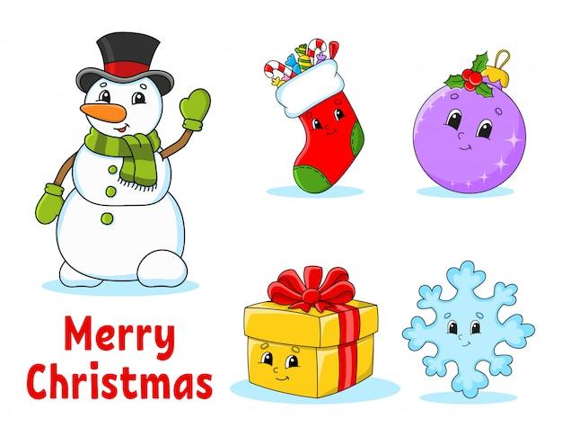 クリスマスのかわいい漫画のキャラクターのセット。雪だるま、靴下、安物の宝石、ギフト、スノーフレーク。明けましておめでとうございます。