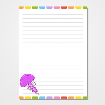 Шаблон листа для блокнота, блокнота, дневника.