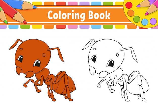 子供のための塗り絵。陽気なキャラクター。ベクターカラーイラスト。かわいい漫画のスタイル。子供のためのファンタジーのページ。