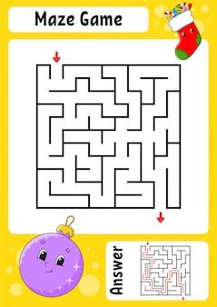迷路。子供向けのゲーム。面白い迷路。教育開発ワークシート。アクティビティページ。子供のためのパズル。かわいい漫画のスタイル。