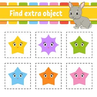 Найти дополнительный объект. рабочая тетрадь для детей и малышей. игра для детей. счастливые персонажи.